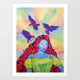 Eclectus Parrot Bird oman Art Print