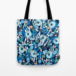 CIRCLES IN MOTION - GREEN/ BLUE brush stroke Tote Bag