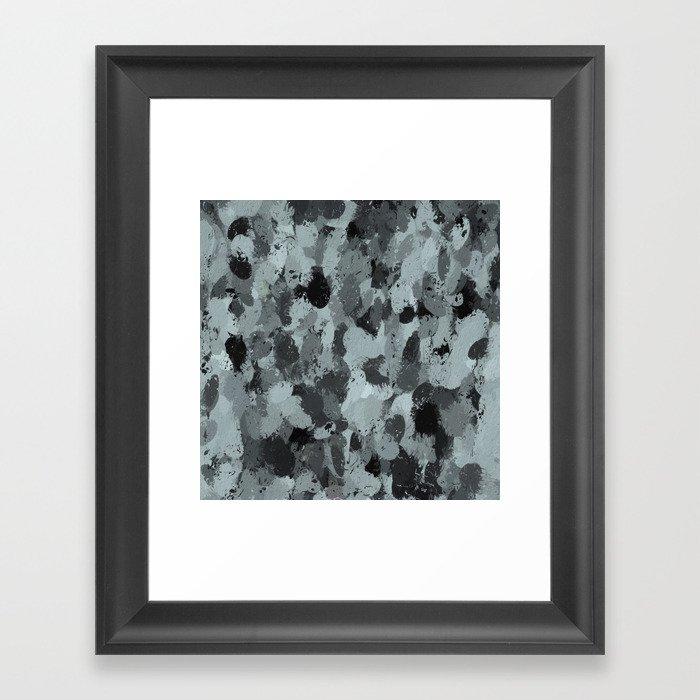 Black and Smokey Blue Pastels 3216 Framed Art Print