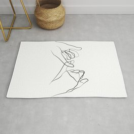promettre -Pinky Swear , One Line Drawing Print, Black White Hands Artwork,  Rug