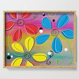 Bright Flowers Intertwined Serving Tray