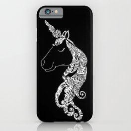The Ivory Unicorn - Zentangle monochrome iPhone Case