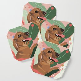 Dachshund puppy with palm leaves in bold colors Coaster