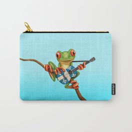 Tree Frog Playing Acoustic Guitar with Flag of Quebec Carry-All Pouch