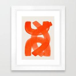 Mid Century Modern Abstract Painting Orange Watercolor Brush Strokes Framed Art Print