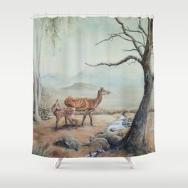 Red deer hind with fawn. Shower Curtain
