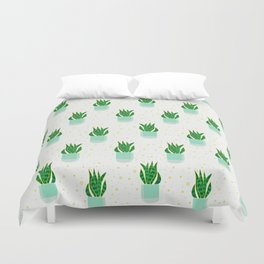 Potted Snake Plant Pattern Duvet Cover