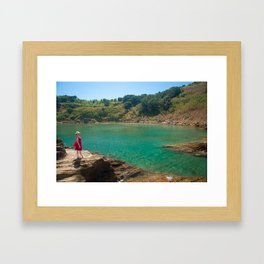 Contemplating the lagoon Framed Art Print