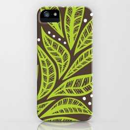 Floral tropical green leaves on brown background iPhone Case