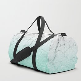 Azure Glitter and Grey Marble Duffle Bag