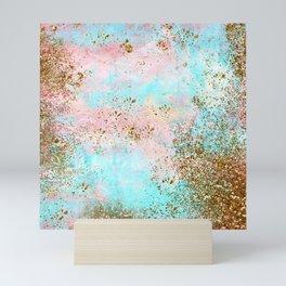 Pink and Gold Mermaid Sea Foam Glitter Mini Art Print