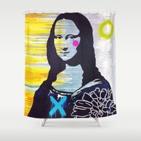 mona lisa Shower Curtains featuring Mona Lisa by Paola Gonzalez