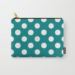 Polka Dots (White/Teal) Carry-All Pouch