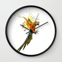 low poly Wall Clocks featuring Low poly Parrot by exya