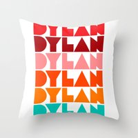 dylan Throw Pillows featuring Dylan by Jeremy Lin