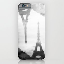 Eiffel Tower Black and White Double Exposure - Paris, France iPhone Case