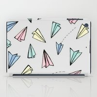 planes iPad Cases featuring paper planes; by Pink Berry Patterns
