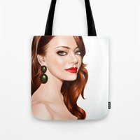 emma stone Tote Bags featuring Emma Stone by RachelHam