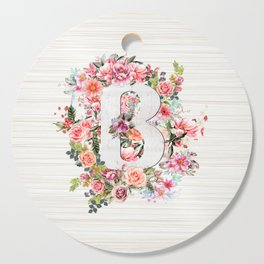 Initial Letter B Watercolor Flower Cutting Board