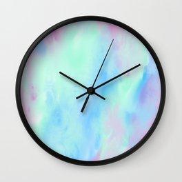 Blue Pink Green Abstract Watercolor Wall Clock