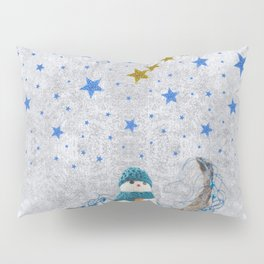 Snowman with sparkly blue stars Pillow Sham