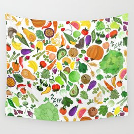 Fruit and Veg Pattern Wall Tapestry