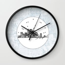 Minneapolis, Minnesota City Skyline Illustration Drawing Wall Clock