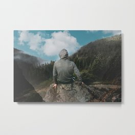Man and the mountain Metal Print