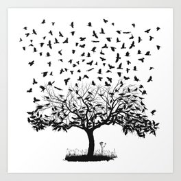 Crows in a tree Art Print