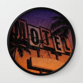 Vintage Motel Sign Sunset Wall Clock