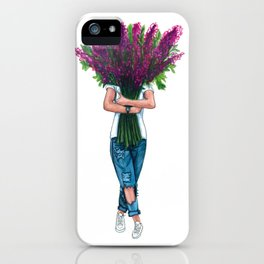 Fashion girl with lavander iPhone Case