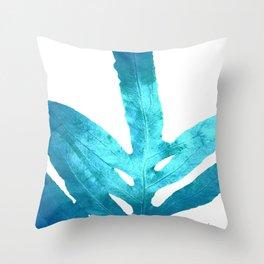 Ocean Blue Fern Throw Pillow