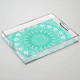 Minimal Aqua Seafoam Mint Green Mandala Simple Minimalistic Acrylic Tray