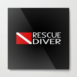 Diver Down Flag: Rescue Diver Metal Print