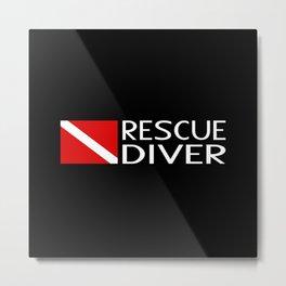 Diver Down Flag: Rescue Diver Metal Print