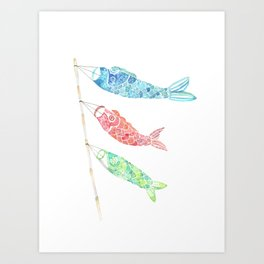 Watercolor Japan Carp Streamers / Koinobori Art Print