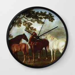 Classical Masterpiece Circa 1762 Mares and Foals in a River Landscape by George Stubbs Wall Clock