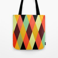 diamonds Tote Bags featuring multicolor diamond pattern by Gary Andrew Clarke