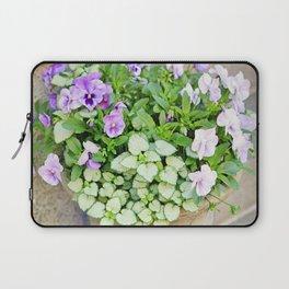 Purple Flowers Alongside Stoop Laptop Sleeve