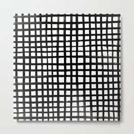 Hand-painted Grid Metal Print
