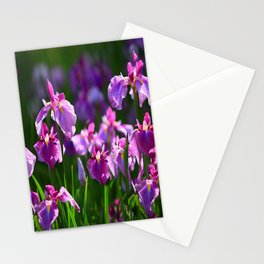 LILAC IRIS GREEN GARDEN  FLOWERS FLORAL Stationery Cards