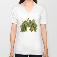 plants V-neck T-shirts featuring plants!! by ella