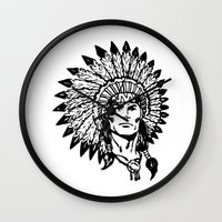 headdress Wall Clocks featuring Headdress by Gregg Deal