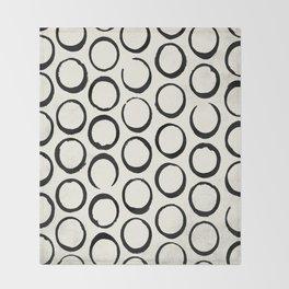 Polka Dots Circles Tribal Black and White Throw Blanket