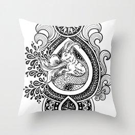 Paisley Capricornus | Black Throw Pillow