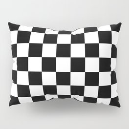 Race Flag Black and White Checkerboard Pillow Sham