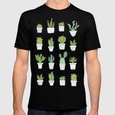 Cactuses. Succulents. Mens Fitted Tee Black LARGE