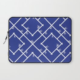 Bamboo Chinoiserie Lattice in Blue + White Laptop Sleeve