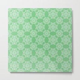 Sage Green Spring Lace Metal Print