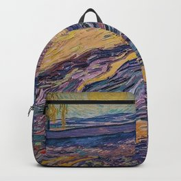 Enclosed Lavender Field with Ploughman by Vincent van Gogh Backpack